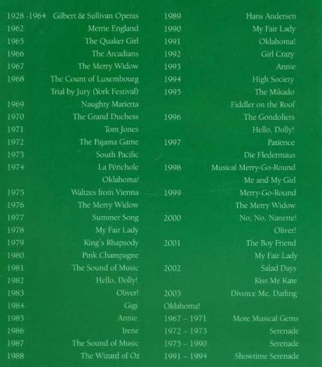 A list of shows from 1928 to 2003